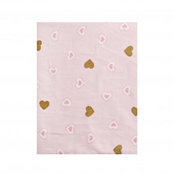 Простыня на резинке Twins Dolce Insta 120x60 бязь 6060-DI-08hgp, Сердечка розовый/золото, розовый