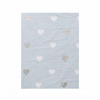 Простыня на резинке Twins Dolce Insta 120x60 бязь 6060-DI-04hg, Сердечки голубой / серебро, голубой