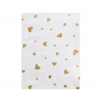 Простыня на резинке Twins Dolce Insta 120x60 бязь 6060-DI-01hgw, Сердечко золото / белый, белый