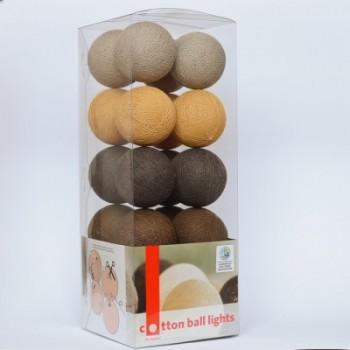 Гирлянда - ночник Cottonballlight 20 шариков в коробке Brown Style, коричневый