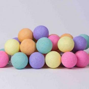Гирлянда - ночник Cottonballlight 35 шариков в коробке Ice Cream, бежевый