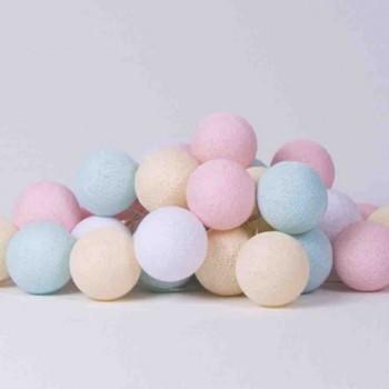 Гирлянда - ночник Cottonballlight 20 шариков в коробке Pastel, мультиколир