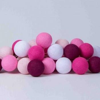 Гирлянда - ночник Cottonballlight 20 шариков в коробке pink, розовый
