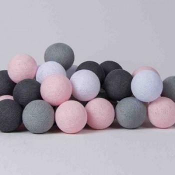 Гирлянда - ночник Cottonballlight 20 шариков в коробке Pink Grey, розовый