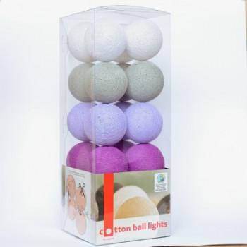 Гирлянда - ночник Cottonballlight 20 шариков в коробке Lavender Night, фиолетовый