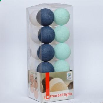 Гирлянда - ночник Cottonballlight 20 шариков в коробке Navy Blue, голубой