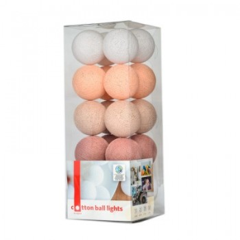 Гирлянда - ночник Cottonballlight 20 шариков в коробке Pale Rose, розовый дым