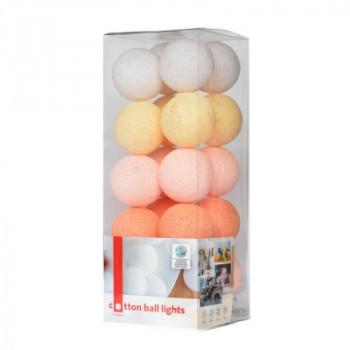 Гирлянда - ночник Cottonballlight 20 шариков в коробке Peach Pastel, розовый