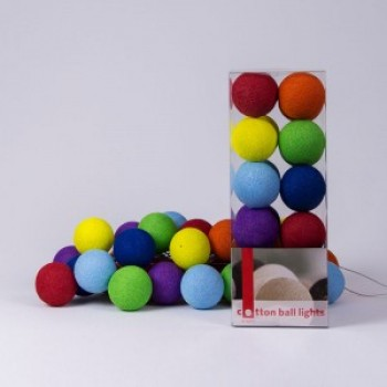 Гирлянда - ночник Cottonballlight 35 шариков в коробке Rainbow, мультиколир