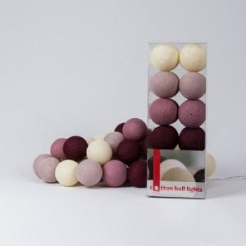 Гирлянда - ночник Cottonballlight 20 шариков в коробке Rose Garden, розовый дым