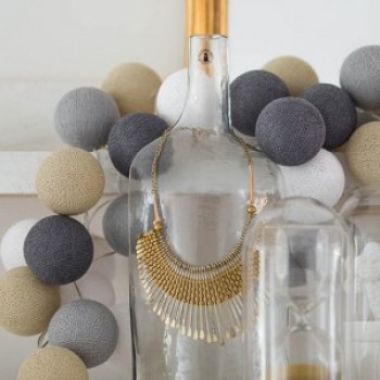 Гирлянда - ночник Cottonballlight 35 шариков в коробке Sand Grey, серый