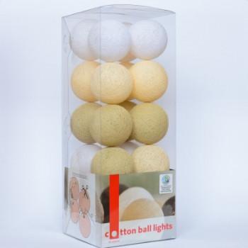 Гирлянда - ночник Cottonballlight 20 шариков в коробке Shell Beauty, бежевый