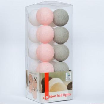 Гирлянда - ночник Cottonballlight 20 шариков в коробке Soft Powder, серый / розовый