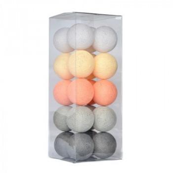 Гирлянда - ночник Cottonballlight 20 шариков в коробке Stone Pearls, серый / оранжевый