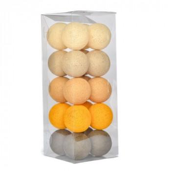Гирлянда - ночник Cottonballlight 20 шариков в коробке Sunny Brown, коричневый