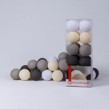Гирлянда - ночник Cottonballlight 20 шариков в коробке Taupe, серый