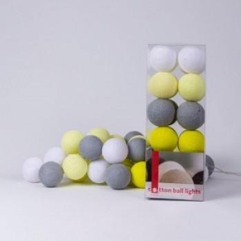 Гирлянда - ночник Cottonballlight 20 шариков в коробке Yellow Stone, серый / желтый