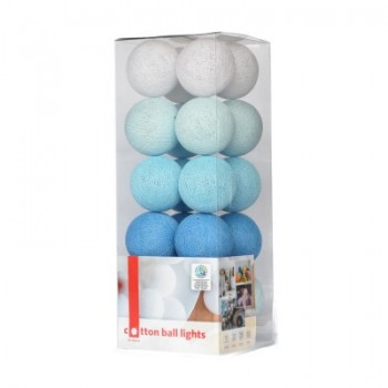 Гирлянда - ночник Cottonballlight 20 шариков в коробке Blue, голубой