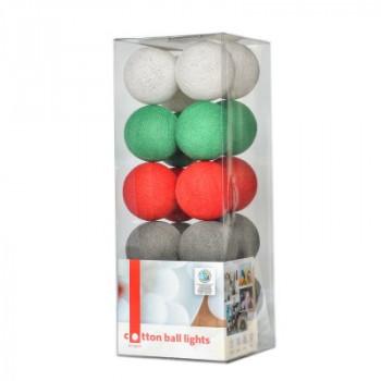 Гирлянда - ночник Cottonballlight 20 шариков в коробке Christmas Time, зеленый