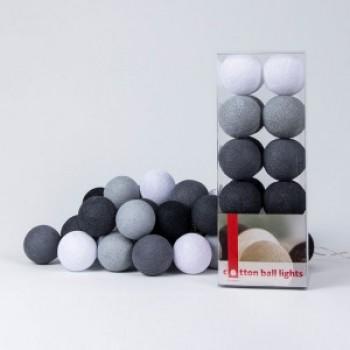 Гирлянда - ночник Cottonballlight 20 шариков в коробке Antra, серый / черный