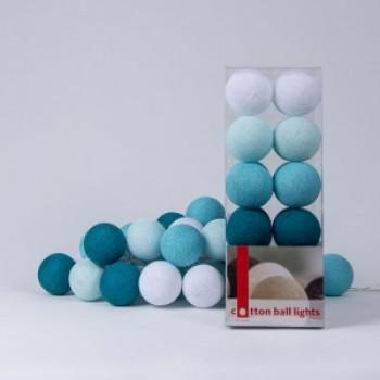 Гирлянда - ночник Cottonballlight 20 шариков в коробке Aqua, бирюза