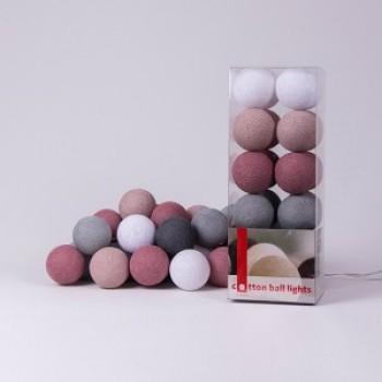 Гирлянда - ночник Cottonballlight 20 шариков в коробке Dirty Rose, розовый дым