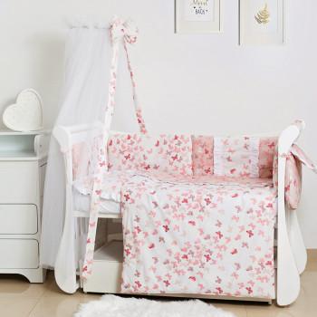 Постельный комплект 8 эл Twins Romantic Spring collection 4024-TR-08, Butterfly pink, розовый дым
