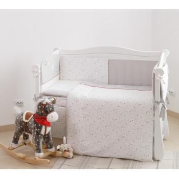 Постельный комплект 6 эл Twins Premium Little stars 4028-P-052, white / grey, белый / серый