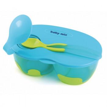Тарелка и ложка Baby Mix RA / D2-0511 RA / D2-0511 B, blue, голубой