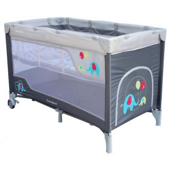 Манеж - кроватка Baby Mix HR-8052 Слоник 8052-215DK, grey, серый