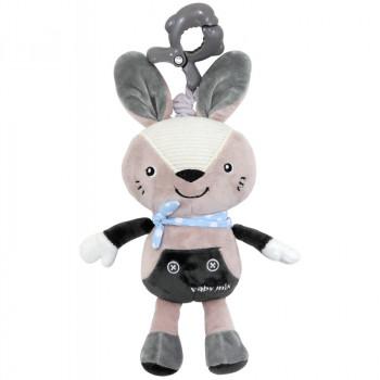 Плюшевая подвеска музыкальная Baby Mix P/1236-EU00 Кролик 40070, grey, серый