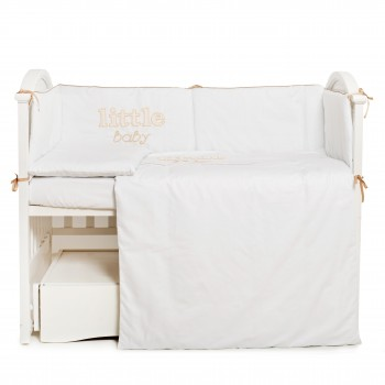 Постtльный комплект 6 эл Twins Little Baby 4042-TLB--02, white/beige, белый/беж