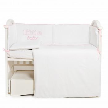 Постельный комплект 6 эл Twins Little Baby 4042-TLB-08, white/pink, белый/розовый
