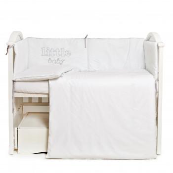 Постельный комплект 6 эл Twins Little Baby 4042-TLB-10, white/grey, белый/серый