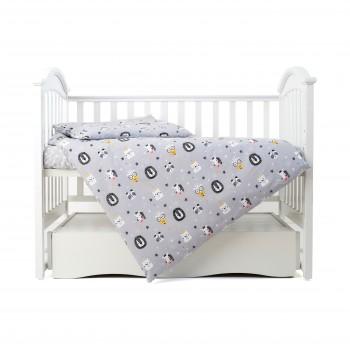 Сменная постель 3 эл Twins Zoo 3022-TZ-10, grey, серый