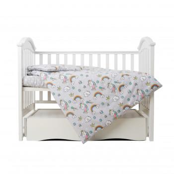 Сменная постель 3 эл Twins Unicorn  3021-TU-10, grey, серый