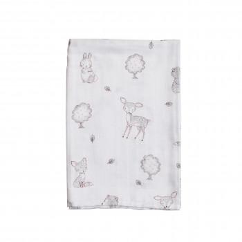 Пеленка Twins муслиновая 110х75 цвета в ассортименте / 1610-TPMA-20, Animals pink, белый/серый