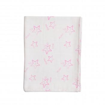 Пеленка Twins муслиновая 110х75 цвета в ассортименте 1610-TPMSP-20, Stars pink, белый/розовый