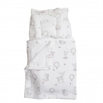 Набор в коляску Twins муслиновый Air (плед, подушка, наматрасник на рез) 1499-TMB-10, Animals pink, белый/серый