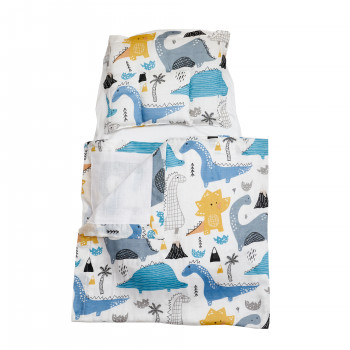 Набор в коляску  Twins муслиновий Air (плед, подушка, наматрасник на рез) 1499-TMB-20, Dino, мальчик