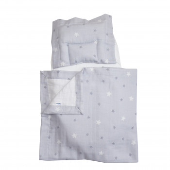 Набор в коляску Twins муслиновий Air (плед, подушка, наматрасник на рез) 1499-TMB-10, Stars grey, серый