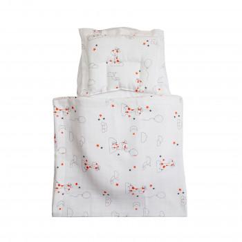 Набор в коляску Twins муслиновый Air (плед, подушка, наматрасник на рез) 1499-TMB-20, Жирафки, мультицвет