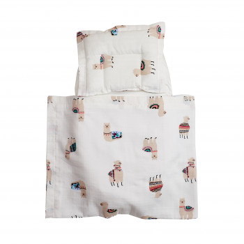 Набор в коляску Twins муслиновый Air (плед, подушка, наматрасник на рез) 1499-TMB-02, Lama, белый/беж