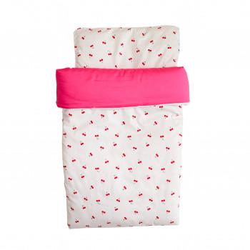Набор Twins плед и подушка 1422-NTPS-01, Вишенка, белый/розовый