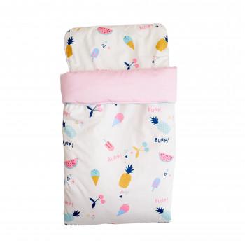 Набор Twins плед и подушка 80х110 (сатин/наполнитель slimtex) 1422-NTPS-08, Мороженое, белый/розовый