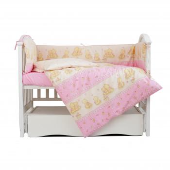 Постельный комплект 4 эл Twins Comfort бампер + сменка 4052-C-016, Игрушки розовые, розовый