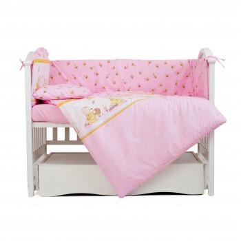 Постельный комплект 4 эл Twins Comfort бампер + сменка 4052-C-008, Медуны розовые, розовый