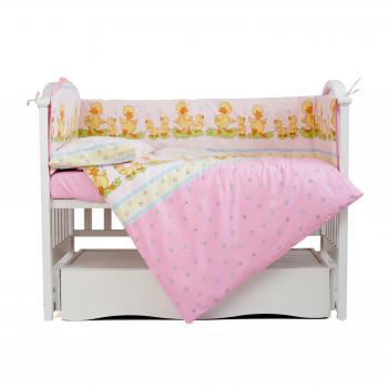 Постельный комплект 4 эл Twins Comfort бампер + сменка  4052-C-026, Утята розовые, розовый