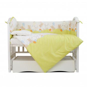 Постельный комплект 4 эл Twins Comfort бампер + сменка 4052-C-022, Горошки зеленые, зеленый