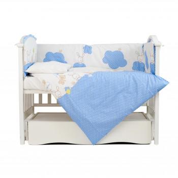 Постельный комплект 4 эл Twins Comfort бампер + сменка 4052-C-020, Горошки голубые, синий